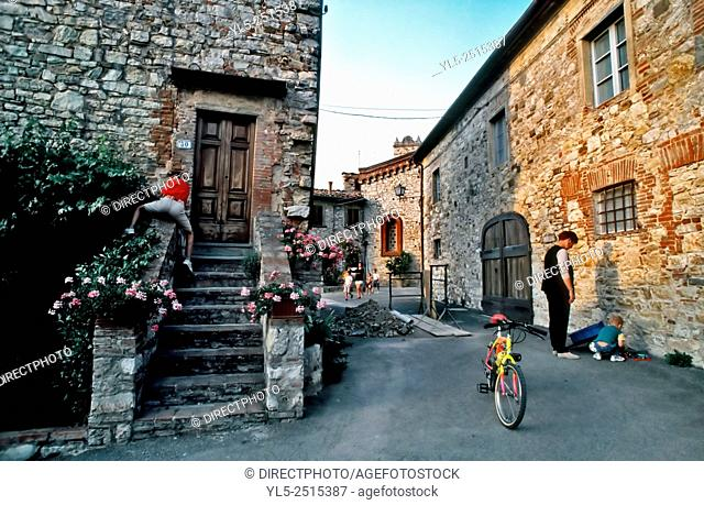 Florence, Italy, Tourist Family Visiting Old Village in Tuscany Countryside
