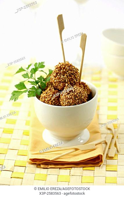 Chicken meatballs with sesame
