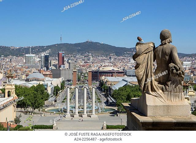 Spain , Catalunya, Barcelona City , Sans Distric, View from Montjuich Hill, España Square , Venetian Towers