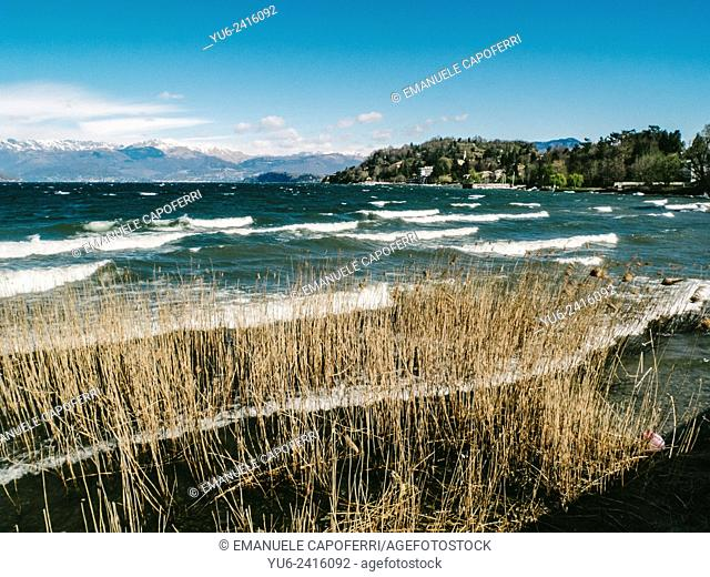 Waves on Lake Maggiore, Ispra, Varese, Lombardy, Italy