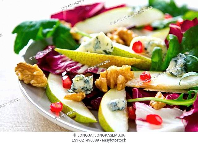Pear with Pomegranate,Radicchio and Blue cheese salad