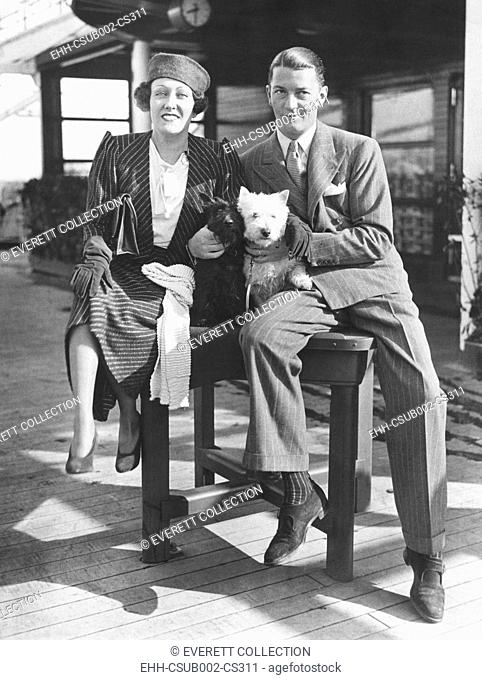 Gloria Swanson with her husband, Michael farmer, her 4th husband. March 16, 1933. They arrived in NYC after she produced the English film, PERFECT UNDERSTANDING