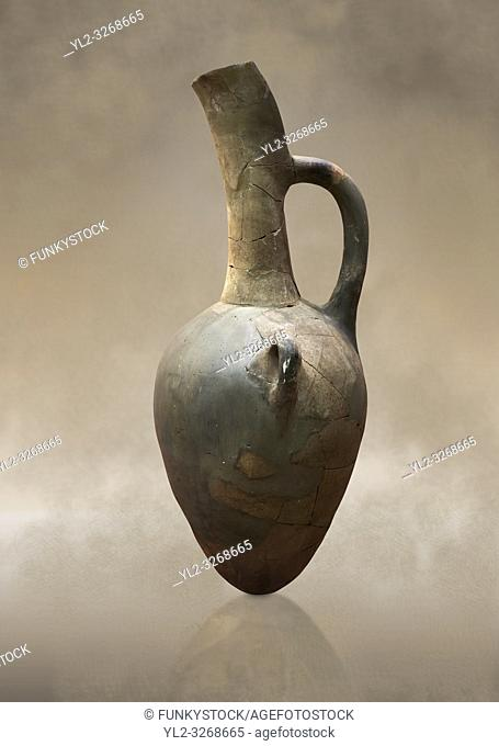 Hittite long neck beak spout pointed base terra cotta vessel. Hittite Old Period, 1650 - 1450 BC. Huseyindede. Çorum Archaeological Museum, Corum, Turkey