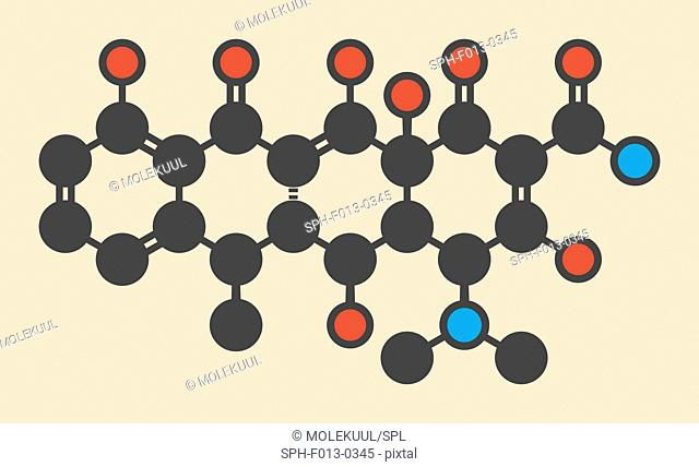 Doxycycline antibiotic drug (tetracycline class) molecule. Stylized skeletal formula (chemical structure). Atoms are shown as color-coded circles: hydrogen...