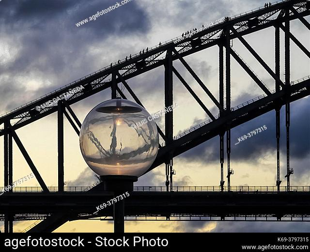 People walking on the Bay Bridge. Sydney. Australia