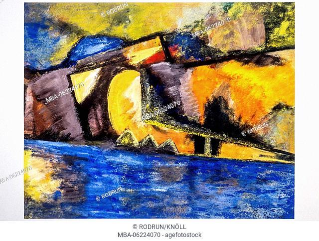 Painting of Pia Bühler, Bursting jetty 1