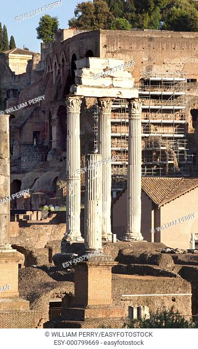 Temple of Castor and Pollux, also called Temple of Dioscuri, built in 484BC to commensurate the victory of Aulus Postumius over the Latins in the battle of Lake...