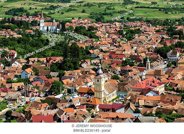 Rooftops in cityscape, Rasinari, Transylvania, Romania