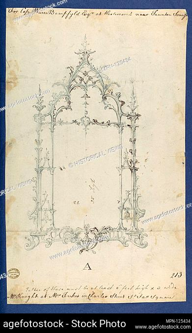 Mirror, in Chippendale Drawings, Vol. I. Artist: Thomas Chippendale (British, baptised Otley, West Yorkshire 1718-1779 London); Date: ca