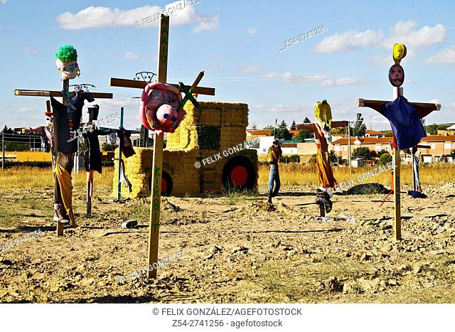 Many Scarecrows at field, Castile and Leon, Valladolid, Spain