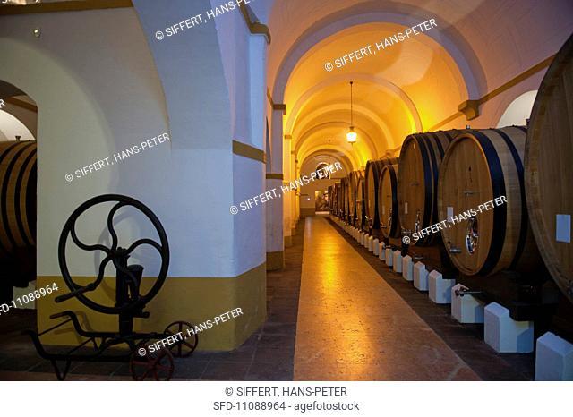 Barrel cellar at the Fundacao Eugenio de Almeida winery Portugal