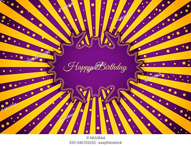 Decorative birthday label in retro star style on striped background. Poster with wishing text: Happy Birthday
