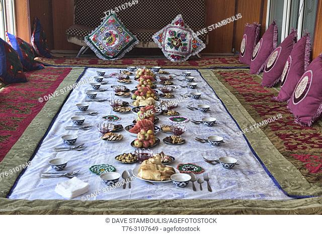 Traditional Kyrgyz welcoming snacks, Sary Mogul, Kygyzstan