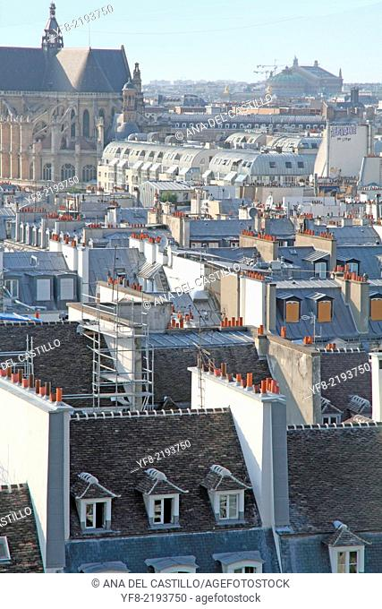Rooftops from the Pompidou Centre, Paris, France