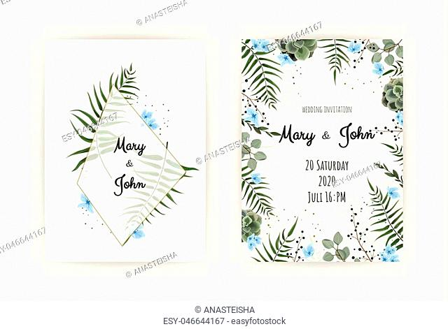 Wedding Invitation with green leaf , eucalyptus branches, decorative wreath frame pattern. Vector elegant watercolor rustic template