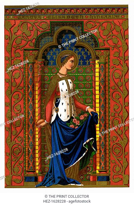 St Elizabeth of Hungary, 1886. Elizabeth (1207-1231) was the daughter of Andras II of Hungary. After the death in 1227 of her husband Louis IV