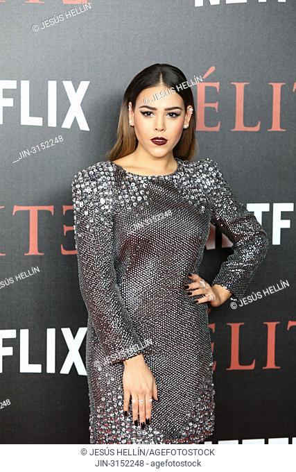 Actress DANNA PAOLA attends 'Elite' premiere at Reina Sofia Museum. Premiere of the Élite series, which premieres Netflix -it is its second Spanish original...