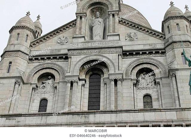 The Sacre Coeur Basilica in Paris at the summit of the hill of Montmartre
