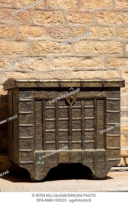 metal box kept for sell Patwon ki Haveli Jaisalmer Rajasthan India Asia