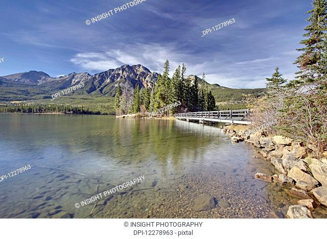 Pyramid Lake is kidney-shaped lake in Jasper National Park lying at the foot of Pyramid Mountain; Alberta, Canada