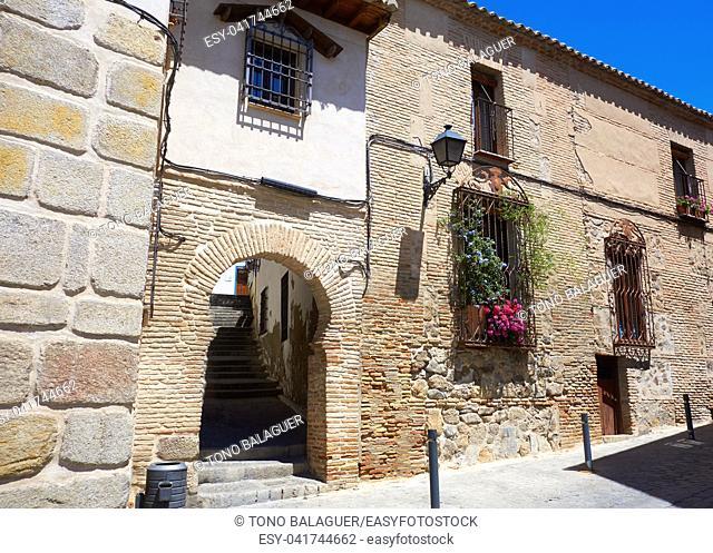 Toledo juderia facades in Castile La Mancha of Spain