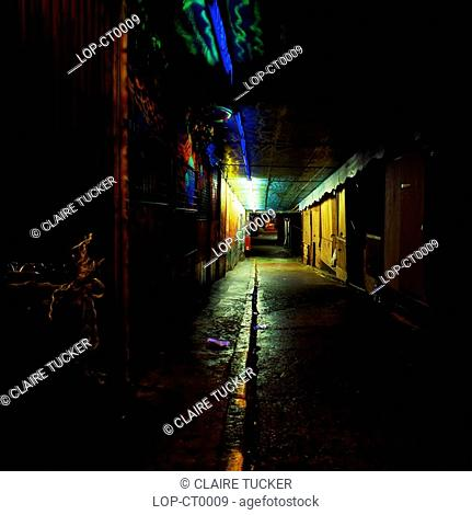 England, London, Camden, Neon alley at night. Camden is famous for its street markets as well as its nightlife and is popular with students