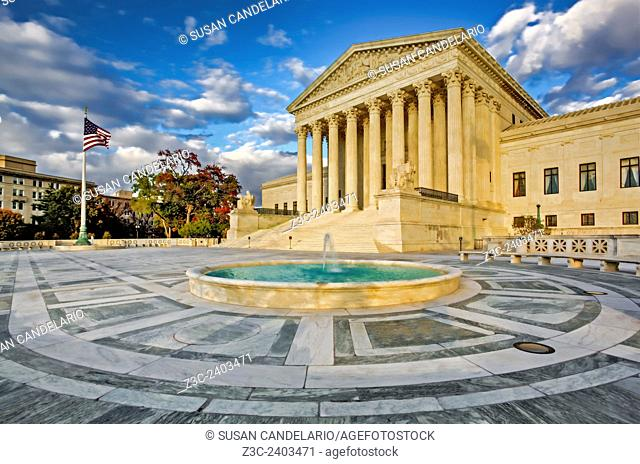 Supreme Court Of The United States in Washington DC. The highest federal court in the United States with its neoclassical architecture style and the words...