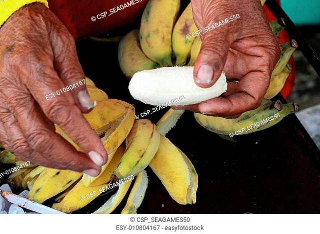 Banana toast thai sweet food - Banana peel to the grill