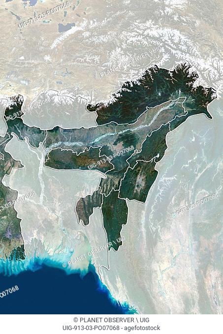 Satellite view of Northeast India (with administrative boundaries and mask). It covers the Seven Sister States and the Himalayan state of Sikkim
