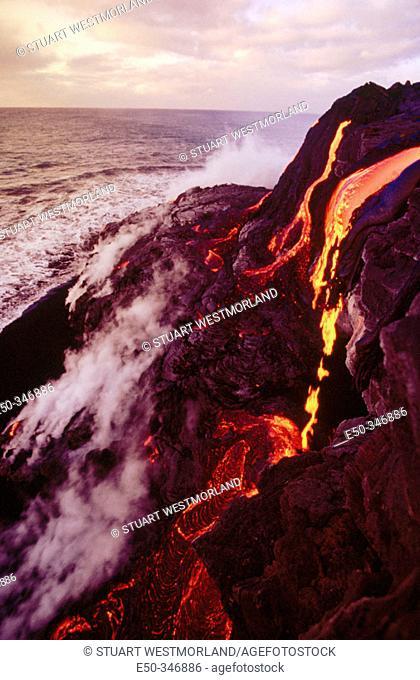 Kilauea lava, Pu-u-O-o flow. Hawaii Volcanoes National Park. Big Island, Hawaii. USA
