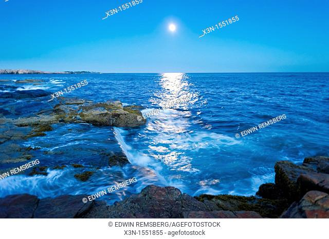 Moon over Schoodic Peninsula - Acadia National Park, Maine