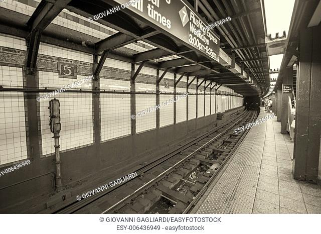 New York subway. Interior detail of railway and columns