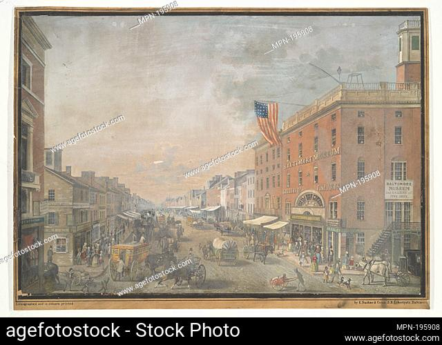 Baltimore Street, looking west from Calvert Street. Sachse, E. (Edward) (Artist). I. N. Phelps Stokes Collection of American Historical Prints Individual prints