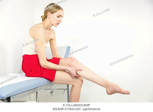 Female patient consulting for leg pain