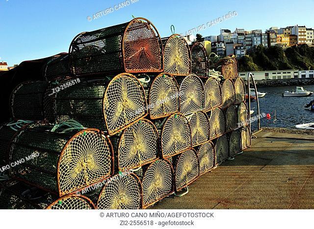 Fish traps on the port. Malpica de Bergantiños, La Coruña, Spain