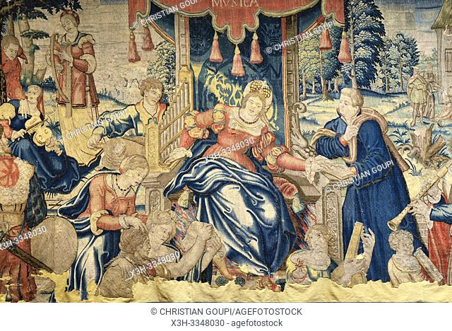 Flemish tapestry (Oudenaarde) from 16th century titled ''La Musica'', Cite Royale of Loches in Touraine, department of Indre-et-Loire