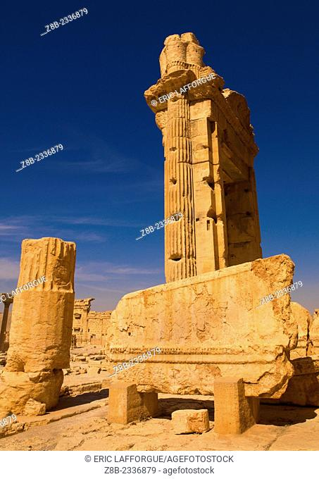 ALEPPO, SYRIA - APRIL 21: The site of Palmyra is an oasis in the Syrian desert, north-east of Damascus, it contains the monumental ruins of a great city that...