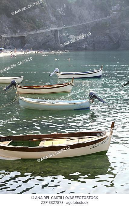 MONTEROSSO ITALY-JULY 18, 2015: Fishing harbor in the Ligurian coast on July 18, 2015 in Monterosso al Mare Cinque Terre La Spezia Italy