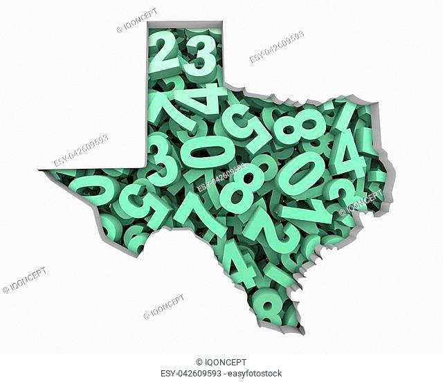 Texas TX Map Numbers Math Figures Economy 3d Illustration
