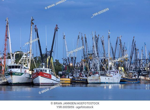 Commercial shrimp boats docked on San Carlos Island, Ft Myers, Florida, USA