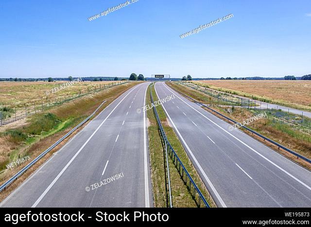 Expressway S6 near Natolewice village, section between Ploty and Kielpino in West Pomeranian Voivodeship of Poland