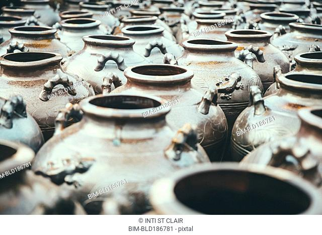 High angle view of empty pots