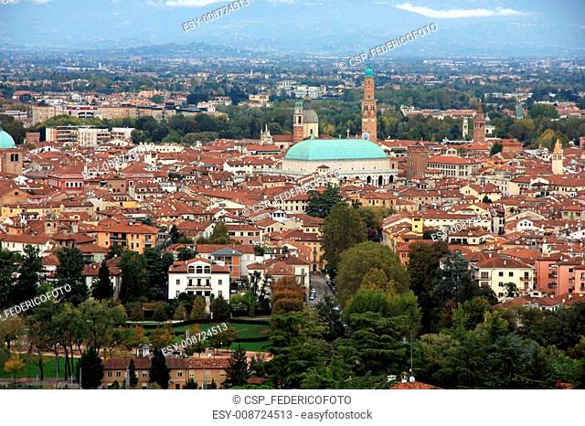 view of the city of Vicenza with the basilica palladiana