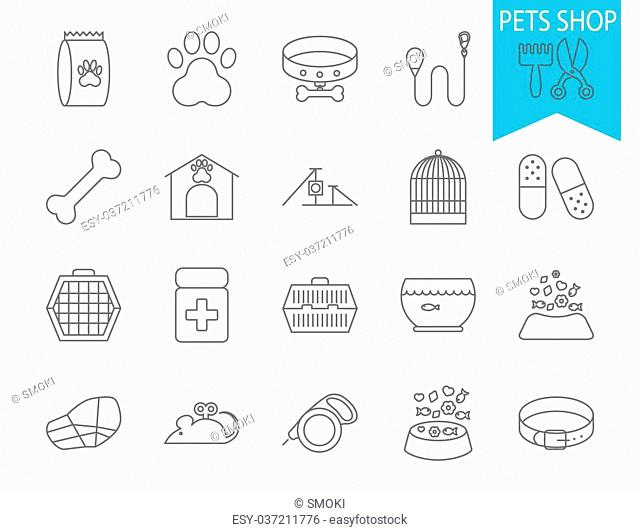 Pets shop icons. Thin line flat vector related icon set for web and mobile applications. It can be used as - logo, pictogram, icon, infographic element