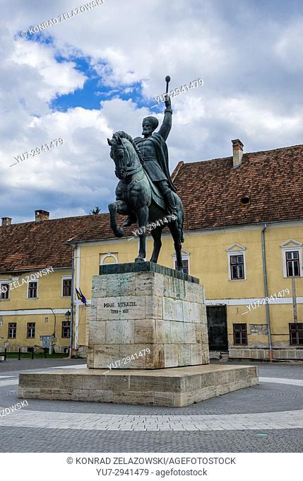 Eqestrian statue Alba Carolina Fortress in Alba Iulia city located in Alba County, Transylvania, Romania