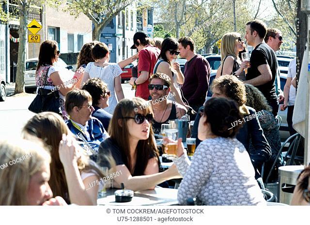 Outdoor bar scene, Brunswick Street, Fitzroy, Melbourne, Australia