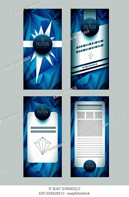 Vector polygon based flyer design template. Elements are layered separately in vector file. CMYK color mode
