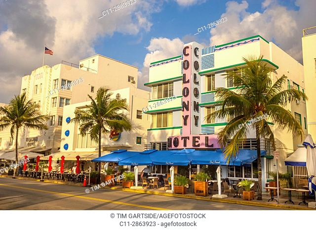 Colony and Boulevard Hotel, South Beach, Ocean Drive, Miami, Florida, USA