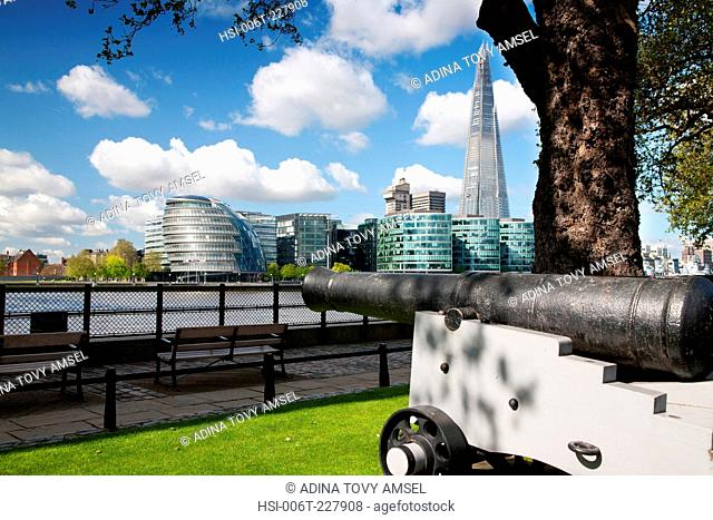 England. London. Canon by the River Thames. City Hall and the Shard building in the background