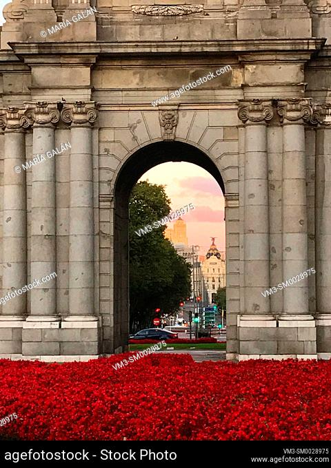 View from an arch of Alcala Gate. Madrid, Spain